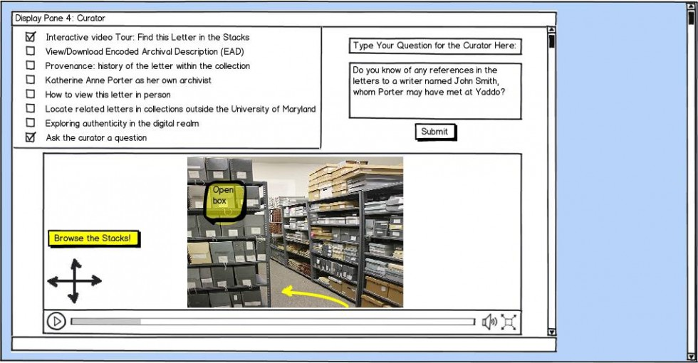 Wireframe for curator view