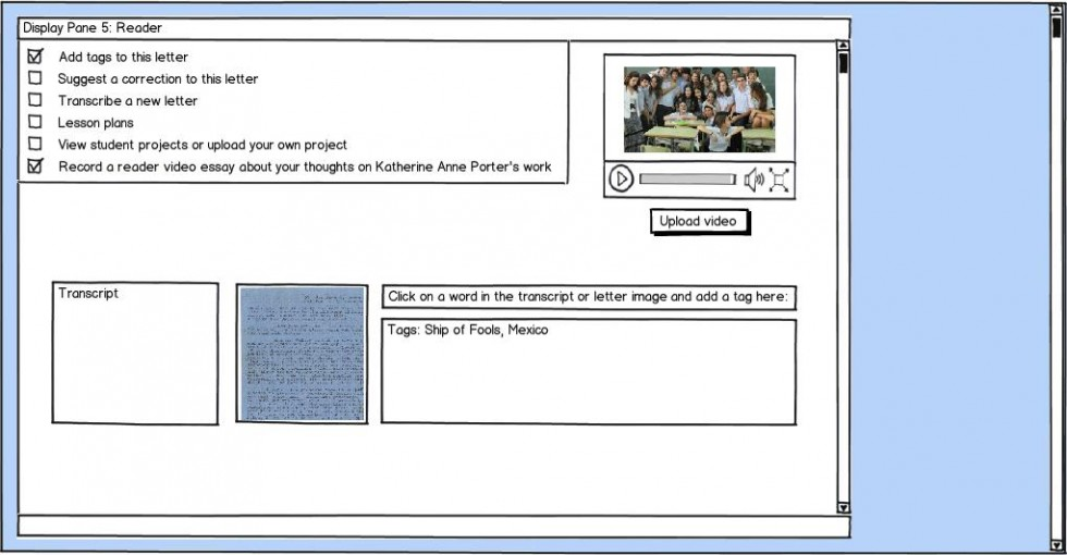 Wireframe for reader view
