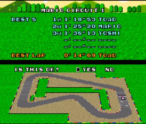 Mario Kart Time Trial Data (Original Save)