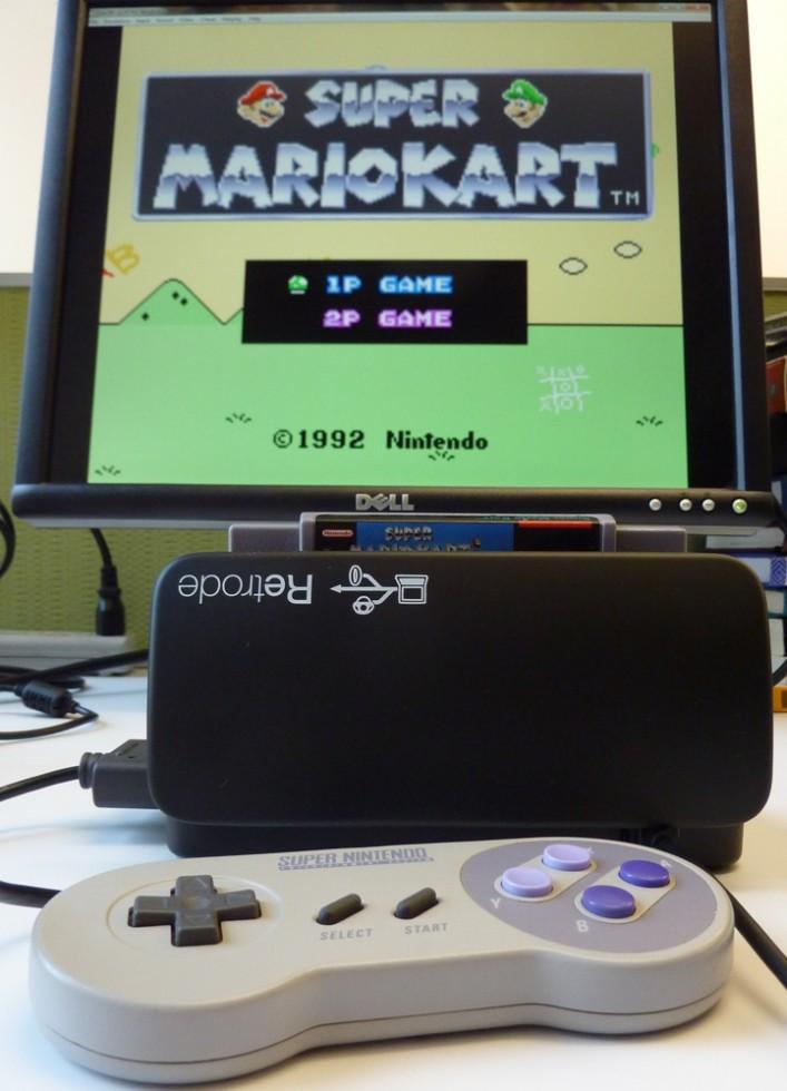 Mario Kart running on an emulator through the Retrode2