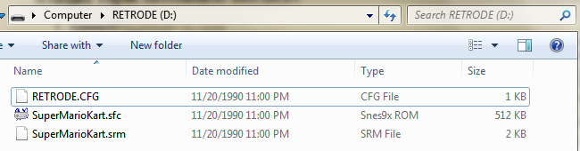 File-listing for the Retrode2