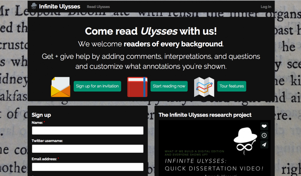 Screenshot of the current front page of InfiniteUlysses.com
