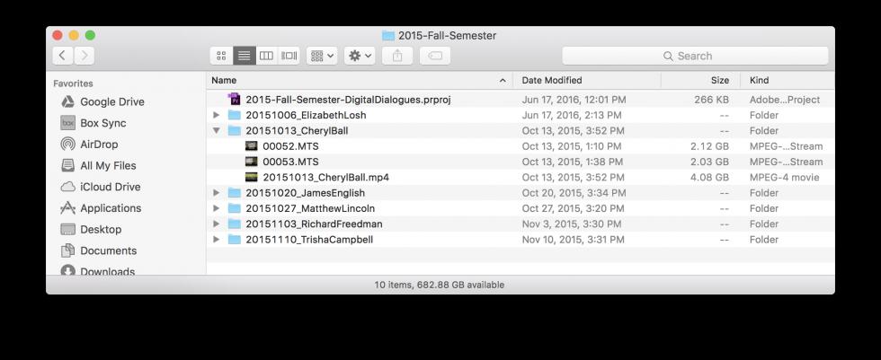 Example of a well-organized Digital Dialogue season folder